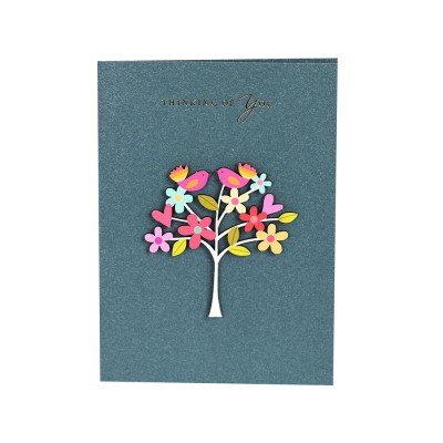 Elegant Vintage Mini Greeting Cards with Wood Carving Patch Decoration, Loving Flower Pattern Birthday Wedding Party Folding Message Card