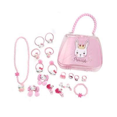 Creative Elegant Hair Accessories Necklace Bracelet Rings Suit, Cute Carton Decoration Acrylic Hand Bag Box Present for Girls