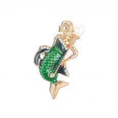 Creative Cute Cartoon Mermaid Breastpin with Rhinestone Decoration, Elegant Glaze Dripping Brooch for Ladies