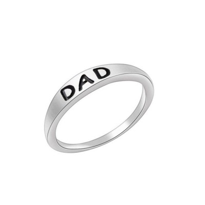 Minimalist Delicate Dad Mom Letters Carving Ring, Simple Creative Fathers' Day Mothers' Day Present Birthday Gift