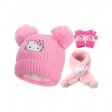 Cute Warm Children Beanie Cap Scarf Gloves 3 Pcs Suit with Hello Kitty Model, Pretty Elegant Cartoon Animal Sewing Autumn Winter Accessories Set for Girls