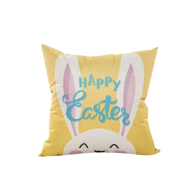 Cute Carton Easter Eggs Rabbit Pattern Linen Pillowcase, Colorful Painting Smooth Pillow Slip for Easter Day