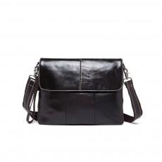 Fashion Business Flip Shoulder Bag Crossbody Bag for Men, Soft Smooth Top Layer Leather Briefcase Messenger Laptop Bag