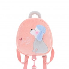 Cute Poodle Dog Pattern Babies Backpack with Traction Rope, Kindergarten Children Double Shoulders Bag with Safety Slip-proof Buckle