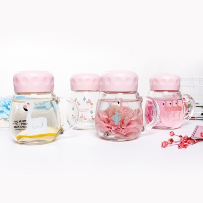 Cute Pink Flamingo Borosilicate Glass Cup, Delicate Fancy Birthday Present Prizes Mug for Girls Children
