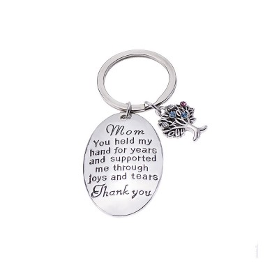 Delicate Elegant Lettering Stainless Steel Key Chain for Mother, Minimalist Rhinestone Decoration Thanks Mothers' Day Gift Accessories
