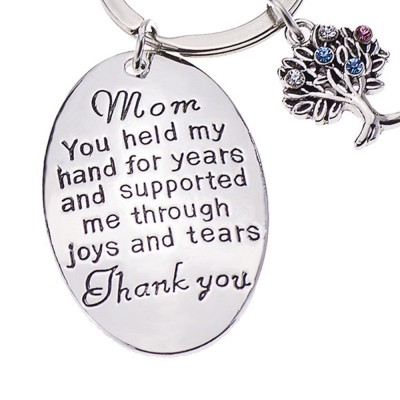 Minimalist Rhinestone Decoration Thanks Mothers' Day Gift Accessories Delicate Elegant Lettering Stainless Steel Key Chain for Mother
