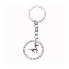 Creative Heart Elephant Horse Model Pendant Key Chain with Rhinestone Decoration, Delicate Letters Carving Ornament Mothers' Day Present