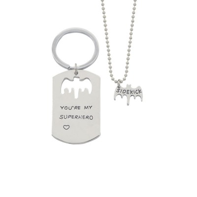Creative Key Chain Necklace Suit with You're My Superhero Letters, Stylish Fathers' Day Present Solid Alloy Pendant Accessories Set