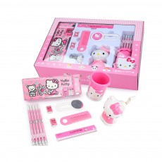 Cute Hello Kitty School Supplies Suit for Girls, 13PCS 12PCS Pink Stationery Set Birthday Present Gift Box for Children