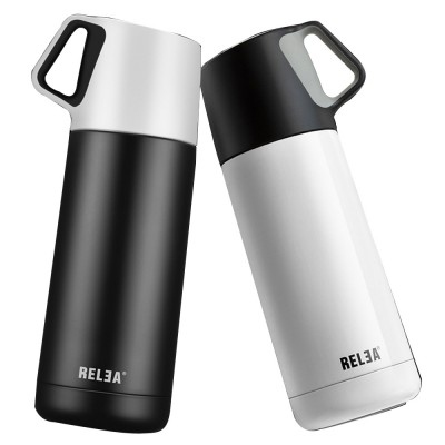 Minimalist Portable Stainless Steel Insulated Thermos Bottle, Vacuum Flask Mug with Functional Lid For Couples Children
