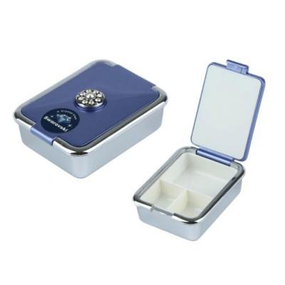 Portable Medicine Box European Court Inlaid with SWAROVSKI Crystal Diamond Plastic Organizer Box Mini 3-grid Pill Box