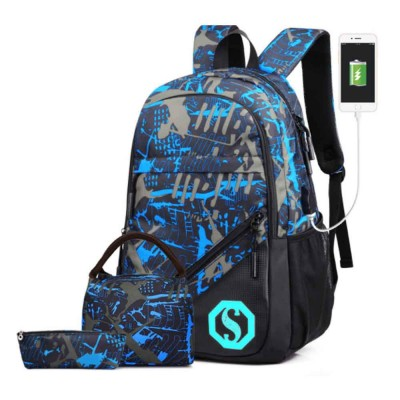 USB Charge Port Backpack for Notebook, Laptop, Waterproof Oxford School Bag for Students, Traveling