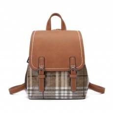Fashionable Plaid Backpack for Women, Waterproof Backpack with PU Leather Buckle Stainless Steel Zipper Backpack