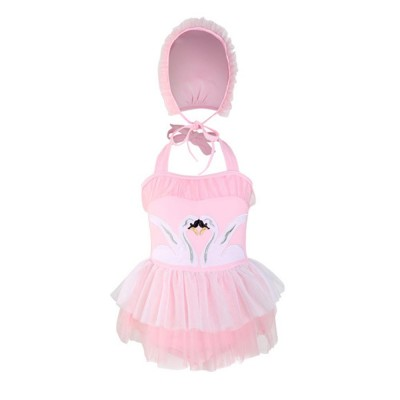 Swimsuit Cute One Piece Nylon Pleated Skirt for Children with A Hat Embroidery Bathing Suit 2019 New