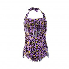 Bathing Suit One Piece Tassels Leopard Print Cute Swimsuit for Girls Hot Spring Vacation Necessary Swimsuit