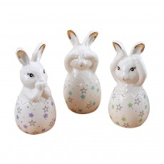 Ceramic Table Top Ornaments Family of Three Rabbit Ceramic Decoration for Office Living Modern Simple Decoration