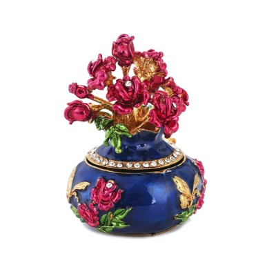 Jewelry Box High-grade Enamel Color Handmade Artwork Vase Ornaments for Household Jewelry Case