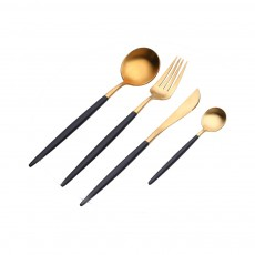 Fancy Golden Stainless Steel Dinner Spoon Fork Knife 2PCS 3PCS 4PCS Suit, Delicate Tableware Kitchenware Cutlery with Black Matte Hollow Handle