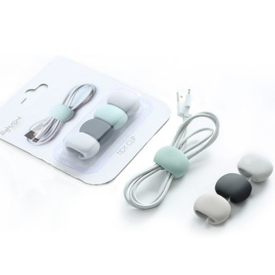 Soft Smooth Cable Wire Data Line Ties Organizer, 4PCS Silicone Phone USB Charger Earphone Holder Fixer