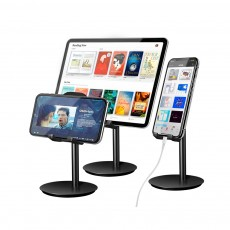 Universal Metal Phone Tablet Computer Holder Supporter, Multifunctional iPhone iPad Soft Silicone Desktop Stand