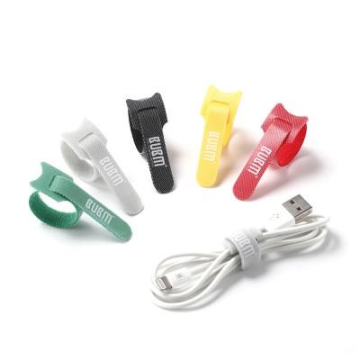 40PCS Colorful Date Line Earphone Power Line Organizer, Tough Nylon Velcro Magic Tape Sticker T-type Wire Organizing Cable