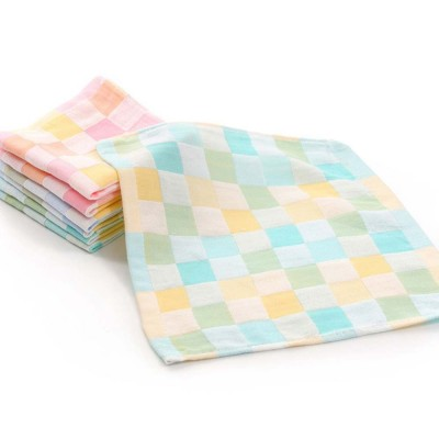 Double Layer Cotton Gauze Towel, Absorbent Cotton Bath Towel for Babies, Comfortable Check Infant Face Towel