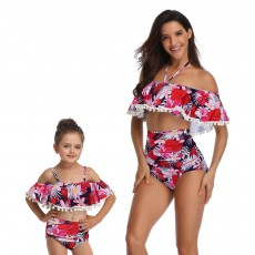 Parent-child High Waist Bikinis with Floral Prints, Lovely Split Bikini with Breast Wiping & Fold Design