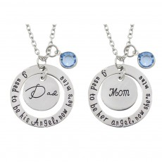 Family Series Pendant with Creative Letters of Dad & Mom Angel, Father's Day and Mother's Gift Angel Necklace