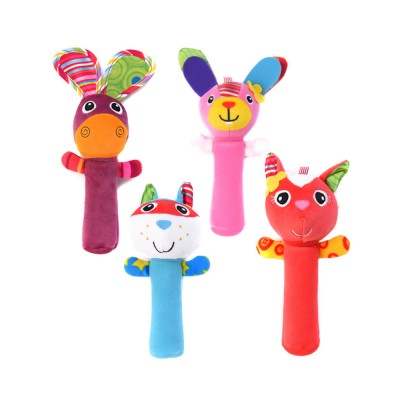 Colorful Cute Animal Model Rattle Pacification Toy for Infants, Ultrasoft Hand Grab Toy BB Stick Baby Early Education Toy