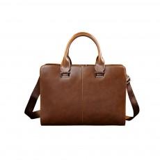 Business Shoulder Bag with Comfortable Hand Belt & Metal Zipper, PU Leather & Square Pull Card Shoulder Bag