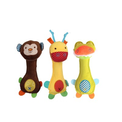 Ultrasoft Short Plush Babies Rattle with BB Device, Cute Animal Model Hand Bell Early Education for Infants Children