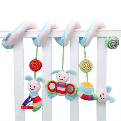 Baby Stroller Butterfly Hanging Plush Toys, Pram Bedside Winding Fluffy Pacification Toy Ornament