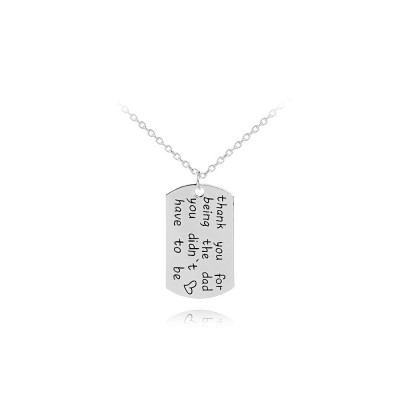 Zinc Alloy Necklace Pendant with Smear Lettering Letters & Perfect texture Lines, Father's Day Gift