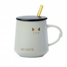 Trending Ceramic Mug for Female and Student, Cute Breakfast Coffee Cup with Lid Spoon