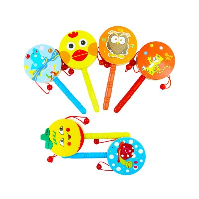 Classical Chinese Style Wooden Rattle for Children, Cute Cartoon Painting Pellet Drum Musical Toy for Early Education