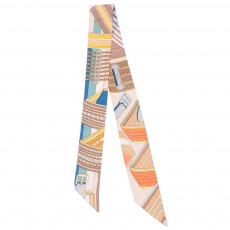 Lady's Long Narrow Scarf with Pure Hand Hemming, Printing Silk Ribbon Preventing Bask in A Suit