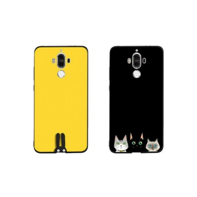 Non-drop Phone Case for HUAWEI Mate 20x/20, mate 9/9 pro, HD Colorless Painted Soft Shell Full Package with Black Background Design of Three Kittens