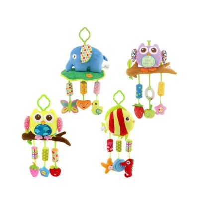 Cute Cartoon Animal Plush Baby Mobile, Delicate Fancy Pacification Early Education Stroller Hanging Toy for Infants Babies