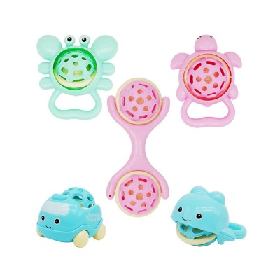 Cute Animal Dumbbell Car Model Teether Molar Rattle for Infants,Flexible Soft Environmentally Safe Plastic Grinding Gum Toy