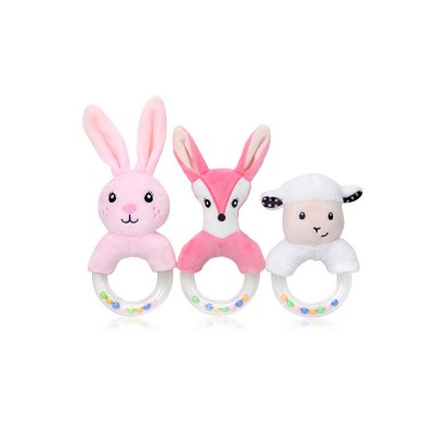 Cute Fluffy Cartoon Animals Rattle, Creative Soft Short Plush Doll Hand Bell with Delicate Embroidery