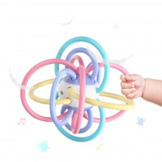Creative Infant Grasping Spin Handbell Sensory Teether, Flexible Soft TPU Teething Early Education Rattle Toy
