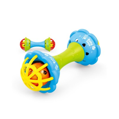Soft Silicone Teether Plastic Hand Bell Hammer, Solid ABS Handbell Rattle Babies Early Education Toy