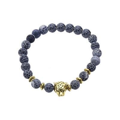Stylish Elastic Beaded Bracelet Bangle for Men Women, Aggressive Natural Stone 8mm Beads Leopard Head Hand Chain