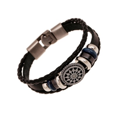 Woven PU Leather Bracelet, Men' Cowhide Hand Ornament for Father's Day Gift, Birthday Gift, Business Activity Gift