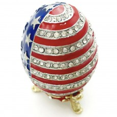Easter Egg with American Flag Appearance, Enamelled Jewellery Case, Painted Metal Crafts Luxury Ornaments