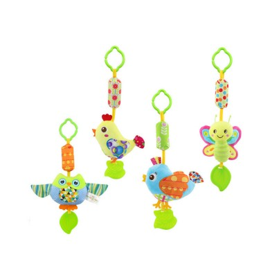 Cute Carton Baby Teether with Butterfly Chick Owl Bird Model, Soft Grinding Gum Campanula Series Pacification Toy