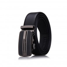 Men's Scratch Resistant Pure Leather Belt with Texture Alloy Buckle, Automatic Buckle Business Belt for Father's Day