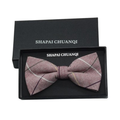 Men' Cotton Grid Self Tie Bow Ties, Unique Bow Ties with Various Styles for Groomsman Gets Married
