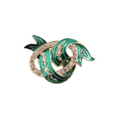 Elegant Green Wave Model Rhinestone Embellishment Alloy Brooch for Women, Scarf Clothes Ornament Accessories Breastpin Women Jewelry